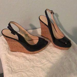 New Nine West black peep toe wedges size 8.5